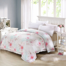 100% tencel Pastoral style lavender large flower pattern Quilted Set Full Summer Blankets thin washable duvet super smooth soft