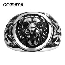 GOMAYA Mens Rings 316L Stainless Steel Men Fashion New Animal Lion Head Rings Cool Design Vintage Rock Punk Gothic Biker(China)