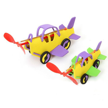 1 Random Shape Kids DIY New Assembled EVA Materisl Puzzle Whirlwinds Elastic Dynamic Rubber Band Model Car Toys Children's Gifts