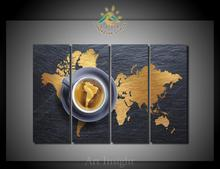 4 Pieces/set World Map Art For Wall Decor Home Decoration Picture Paint on Canvas Prints Painting for Living Room