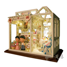 PH002 sweet desire supply ( with dolls /Dust/ voice LED) Dollhouse wooden Miniatures diy doll house model free shipping(China)