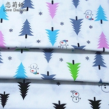 100% cotton twill cloth NORDIC WIND snowman pine forest DIY for kid bedding cushion clothes dress handwork textile fabric tissue