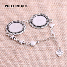 PULCHRITUDE 3pcs 22cm Alloy Antique Silver Chain Bracelet Hand Charm Round Cabochon base Setting Fit 20mm Dia Women Z0024