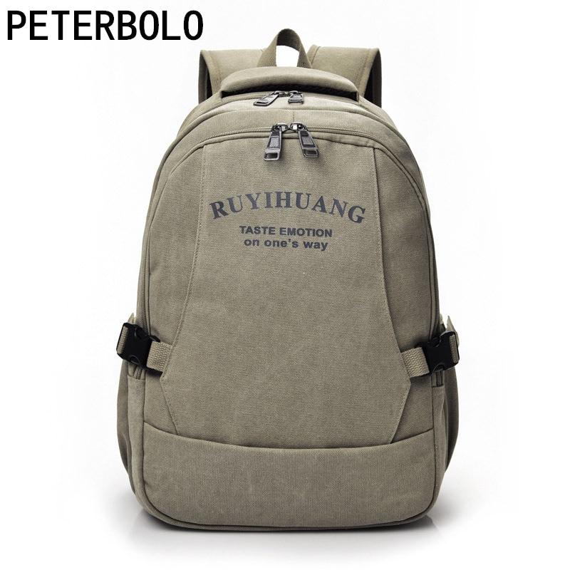 Petetbolo Mens Casual Canvas Backpack Mens Laptop Rucksack Travel Bag Student School Bag Vintage Mochila<br>
