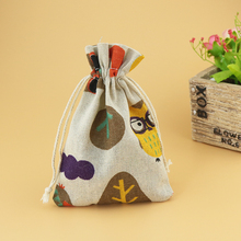 10pcs/lot Small Drawstring Cotton Bag for Gift Sachet Grocery Storage Pouch Cute Craft Packaging Bags 10*14cm Cute Owl Pattern(China)