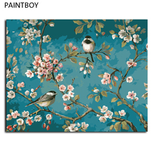 Flower And Bird Oil Painting Frameless Picture Painting By Numbers DIY Digital Canvas Oil Painting Home Decor Living Room G435(China)