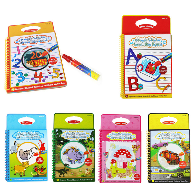 6 Colors Magic Water Drawing Book Coloring Book Doodle with Magic Pen Painting Board Juguetes For Children Education Drawing Toy