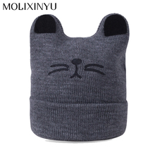MOLIXINYU Child Cotton Cap Cat Baby Hat Print Pattern Warm Comfortable Hat Boy/ Girl Fashion Lovely Autumn Winter Children's Cap(China)