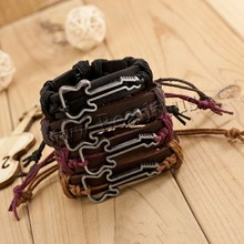 Antique Genuine Leather Bracelets Hollow Guitar Charm Bracelet for Women Men Friendship Bracelets 2015 Fine Jewelry