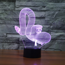 Novelty 3D Balloon Dog Snake Illusion Light 7colors Changing Night Lamp USB/Battery Powered Desk Lamp Modern Home Decor