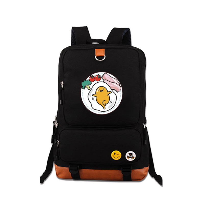 High Quality 2017 New Funny Gudetama Printing Backpack Kawaii School Bags Mochila Feminina Canvas Laptop Backpack Travel Bags<br>