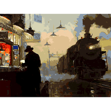 Unframed DIY Oil Painting By Numbers America West Vintage Train DIY Hand Drawing Wall Picture Decoration(China)