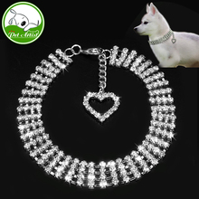 Pet Dog Necklace Jewelry Rhinestone Collar With Novelty Crystal Heart Charm Pendant(China)