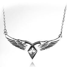 Hot Movie City Bones Necklace Angelic Power Necklace Silver Color Mortal Instruments White Crystal Collares(China)