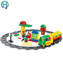 HuiMei Rail Transport Vehicles Big Building Blocks Bricks Baby Early Educational Learning train Gift Toys for Kids Children