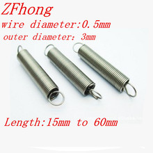 20PCS 0.5 x 3mm 0.5mm stainless steel Tension spring with a hook extension spring length 15mm to 60mm(China)