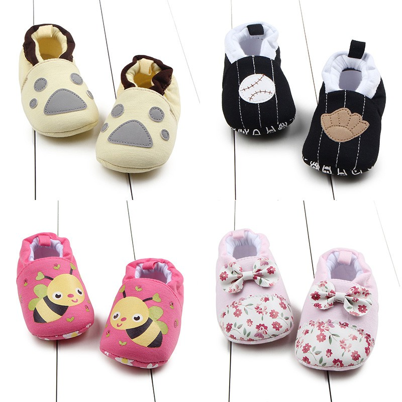 0-12M Newborn Baby Toddler Infant Bow Shoes Sandal Girls Soft Sole Cotton Shoes