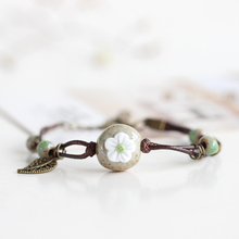 New Creative Fashion Handiwork Ceramic Bracelet Flower with Leaf Pattern Unique Colorful Women Jewelry Yellow Blue Pink Orange(China)