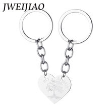 JWEIJIAO My Family Life Of Tree Half Two Parts One Pair Keychain Stainless Steel Heart Charms Keyring Key Chains Jewelry SS72(China)