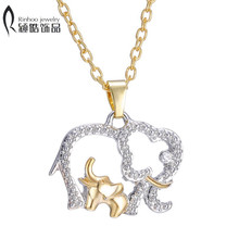 Fashion Alloy Jewelry for family mother gift Hot Gold Silver Plated Crystal Animal Big Elephant with Baby Pendant necklace(China)
