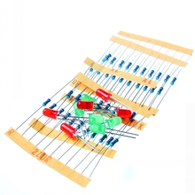 50pcs 1K 10K 100K 220 Ohm 1/4W 1% Metal Film Resistor and Led KIT for Arduino / for Raspberry Pi