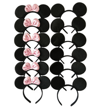 12pcs Minnie/Mickey Ears Solid Black & Pink Sequins Bow Headbands,Boy & Girl Headwear for Birthday Party or Celebrations(China)