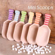 12pcs/bag Small Wooden Candy Buffet Scoops with Chevron Stripe and Mini Dots Spoon for Baking Tool Birthday Party/BBQ/Wedding(China)