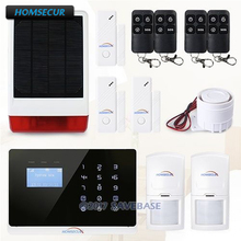 HOMSECUR APP Controlled Wireless GSM Home Burglar Alarm System Solar Powered Strobe Siren English & French Menu adjustable(China)
