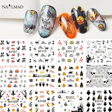12 patterns/sheet Halloween Nail Water Decals Flowers Transfer Stickers Skull Nail Art Sticker Tattoo Decals(China)