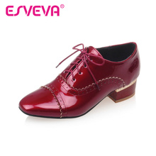 ESVEVA All Match Lace Up Square Toe Pu Patent Leather Lace Women Square Heels Autumn/Spring Miss Party Shoes Size 34-43 Red(China)