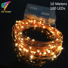 Economic Version 10M 100 Leds Copper Wire AA Battery Operated 33FT Christmas Wedding Party Decoration LED String Fairy Lights(China)