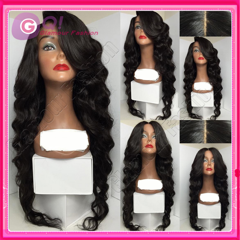 GQ New brazilian lace front wigs body wave with bangs glueless front lace wig human hair wigs for black women with bleached knot<br><br>Aliexpress