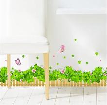 Wallpaper Cartoon Green Grass Plant Wall Stickers DIY Home Decor Kids Room Door Window Print Picture Furniture Poster Removable