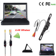 2.4G wireless Parking Assist 7 infrared night vision Car Reverse cam with 4.3 TFT LCD monitor Screen Rearview camera safe system