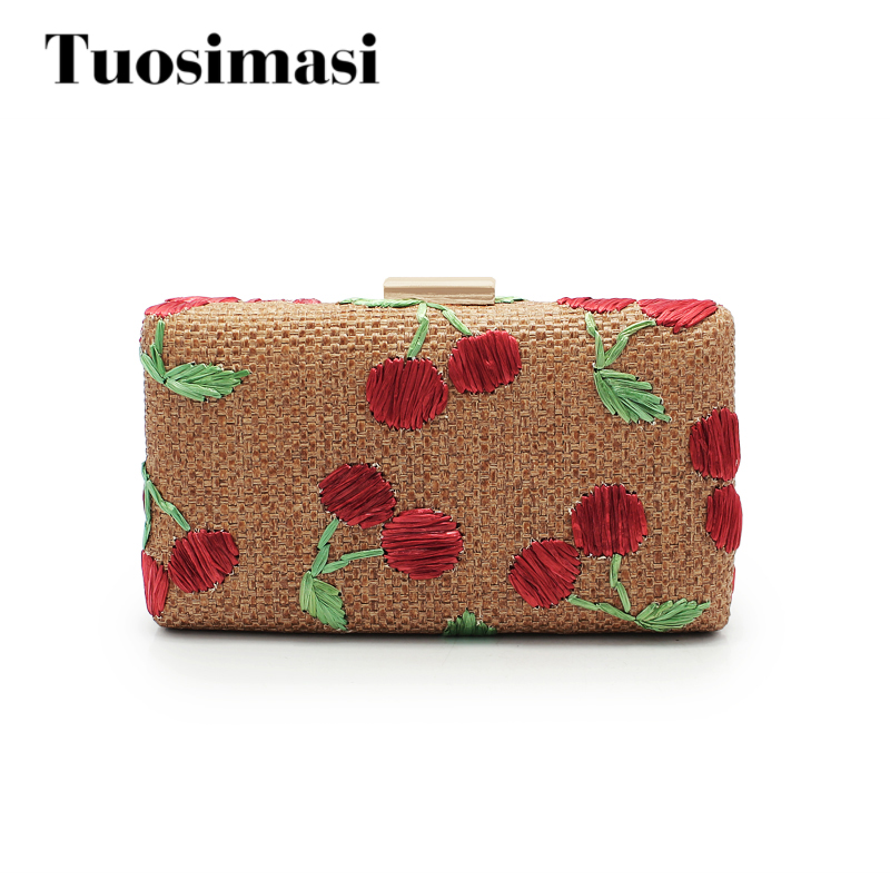 new arrival straw ladies evening bag women clutch chain bags high quality wedding bags free shipping flower clutch (C772)<br>