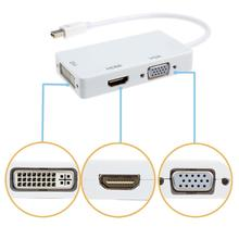 Best Price 1 piece Mini Dual DisplayPort Male to DVI VGA HDMI Female Type A Adapter 3 in1 for MacBook iMac