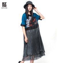 Outline Summer Women Long Dress Vintage Half Sleeve O-neck Plus Size Vestido With Chinese Frog Loose Elegant Party DressL162Y020