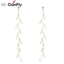 AE-CANFLY Gold Color Crystal Wedding Long Earrings Elegant Chandelier Earrings For Women Wedding Jewelry Gift 2B3006