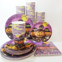 40pcs/set Halloween Disposable Tableware Sets Plates Paper cups Napkins Paperboard party Tableware Favor Accessories supplies