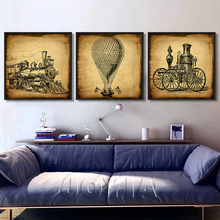 3 Piece Vintage Calligraphy Painting Train Car Early Oil Painting Printed For Living Room Wall Art Retro Home Decor Framed No