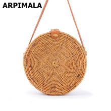 ARPIMALA 2017 Round Bali Rattan Handbags Handmade Beach Bags Chic Women Bags for Summer Ribbon Pattern Straw Circle Clutch(China)