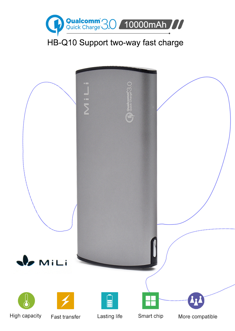 MiLi Power Bank 10000mAh Portable External Battery Pack Backup Charger LCD Dual USB Powerbank for Phones and Tablets
