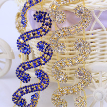 5yards Sew on Crystal Rhinestone Trimming Bridal Dress Cup Chain Applique Belt Bags Shoes Garment Decoration HF-498