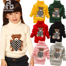 Retail 0-4years turtleneck knitted sweaters boys girls baby kids children Clothing Clothes Infant Garment spring autumn fall(China)