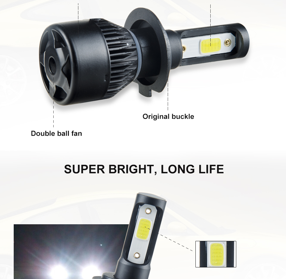 Aceersun H7 H4 LED Bulb Car Headllight H4 H1 H11 9005 72W mini cob chip 12V 24V Auto Headlamp Lamps 8000LM 6500K 4300K Fog Light (12)