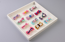 Free Shipping 4pcs children lovely Plaid Dot bow knot Hair Pin baby girl cute BB Clip Hairpins Hair Side Clips(China)