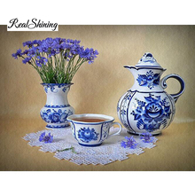 Diy Full Diamond Embroidery Blue White Porcelain 5D Diamond Painting Cross Stitch 3D Diy Diamond Mosaic Square Rhinestones RS545