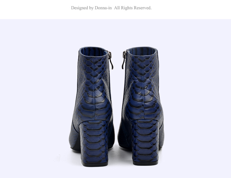 Donna-in 2017 new style ankle boots sexy snake leather women boots retro square toe thick high heel autumn boots 15325-19 (15)