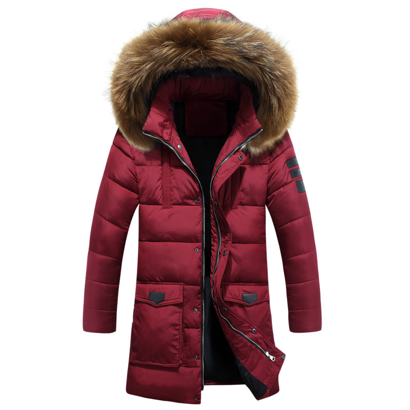 -25 Degree Temperature 2017 Winter Parka Men Cotton Padded Long Thick Warm Casual With Raccoon Dog Fur Collar Male Jacket Coat