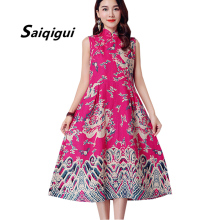 Buy Saiqigui 2018 New Fashion Chinese Style Summer dress sleeveless women dress casual cotton Linen dress Print vestidos de festa for $15.53 in AliExpress store